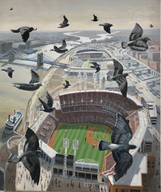 "Great American Ballpark, Cincinnati, 40"" x 34"", Oil On Canvas"