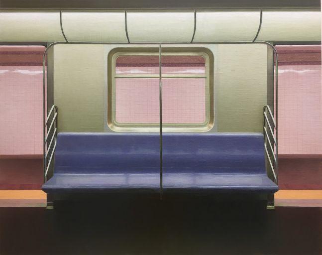 "E Train, 24"" x 30"", Oil On Linen-Mounted Panel"