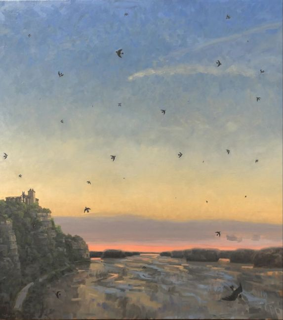 "Cliff Swallows Over The Missouri  40"" x 36""  Oil On Canvas"