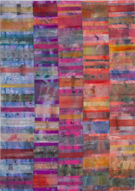 "Counting On The Family Jewels  38"" x 27""  Acrylic And Thread On Silk"