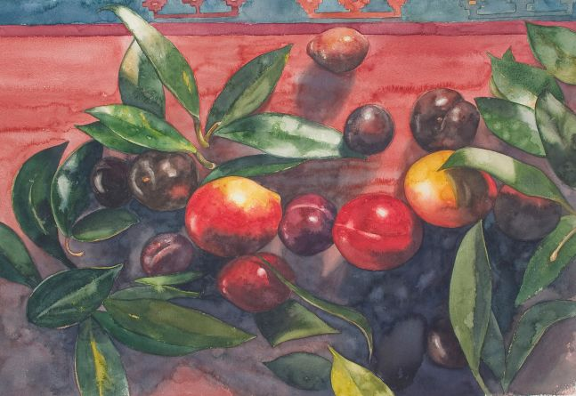 """Fruit And Waxplant Leaves  25"""" x 35.5""""  Watercolor"""