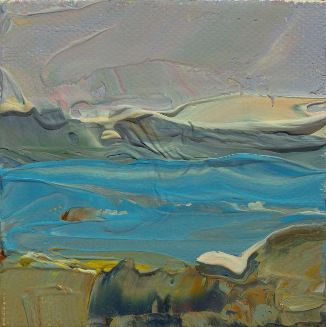 """Clear Afternoon Toward Bartlett Island  3"""" x 3""""  Oil On Canvas"""