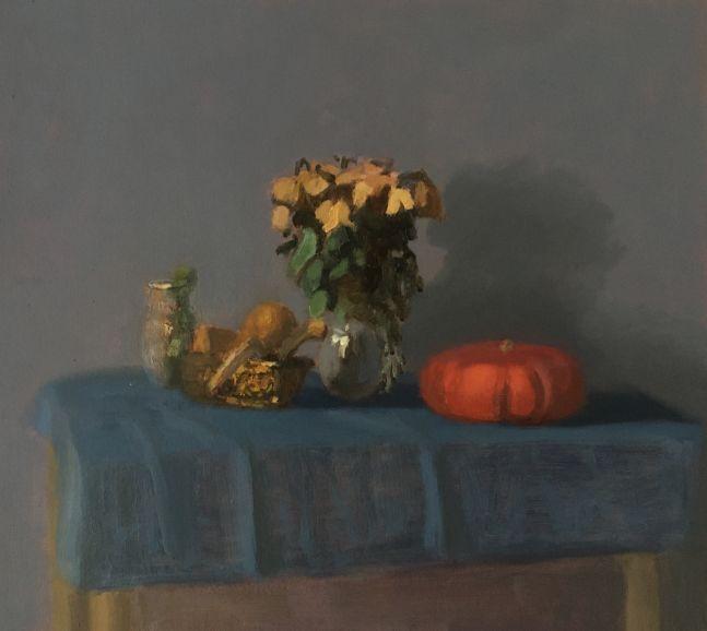 "Dry Roses & Pumpkin   12"" x 14""  Oil On Panel"