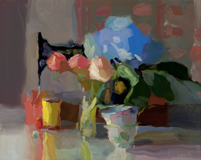 """Sewing Machine, Hydrangea, and Teacups  16"""" x 20""""   Oil On Linen"""