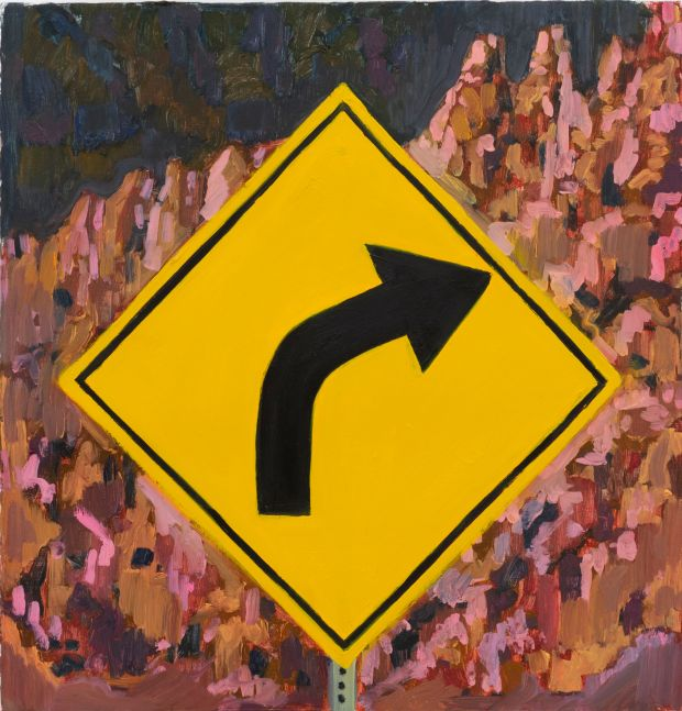 """Right Turn, 15"""" x 16"""", Oil On Canvas On Panel"""