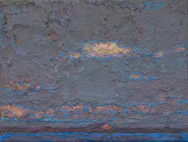 "Thomas Paquette, Mt. Kineo From Rockwood III  3.5"" x 4.5""  Oil/Linen/Mounted Wood Panel"