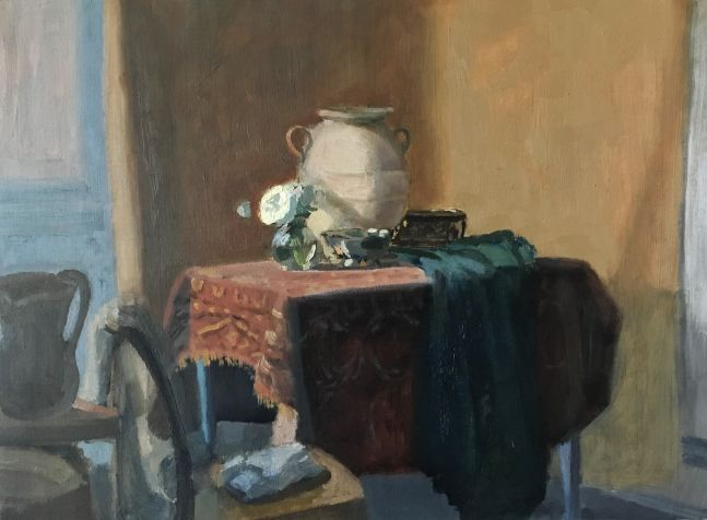 """Giovanni Casadei, Interior With Water Jug 14"""" x 19""""  Oil On Panel"""