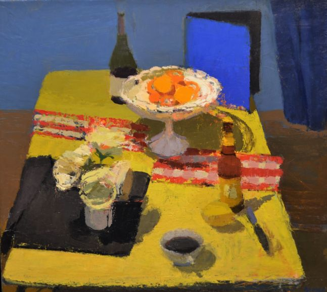 """Still Life With Blue Binder  18"""" x 20""""  Oil On Linen"""