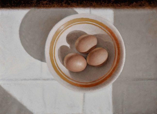 "Bowl Of Eggs  5"" x 12""  Oil On Panel"