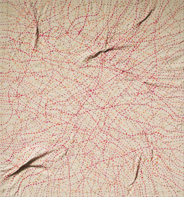 """Kantha Orange  30"""" x 28""""  Thread On Linen"""