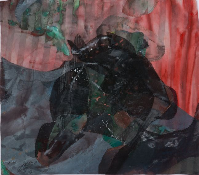 "Whirpool Valley  14"" x 16""  Acrylic And Thread On Silk"