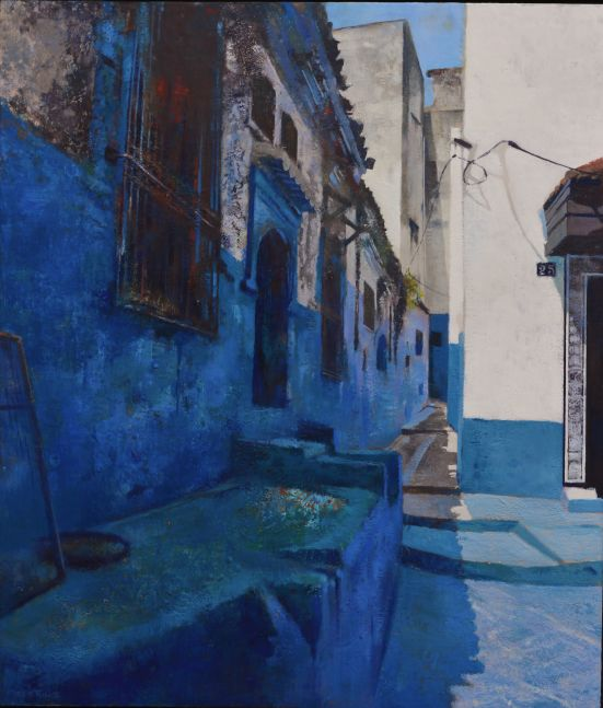 "Moroccan Blues  42"" x 36""  Encaustic"