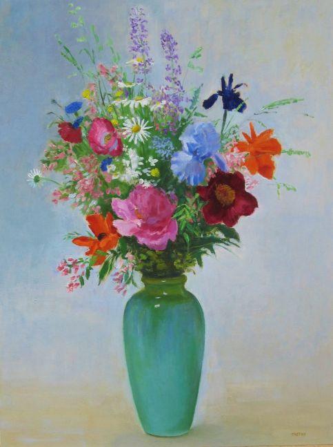 """Frank Trefny, Early June Bouquet  32"""" x 24""""  Oil On Panel"""