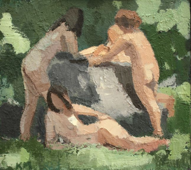 "Four Bathers By The Rock  12.75"" x 14.25""  Oil On Linen"