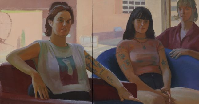 """Band Of Brothers  30"""" x 58""""  Oil On Linen"""