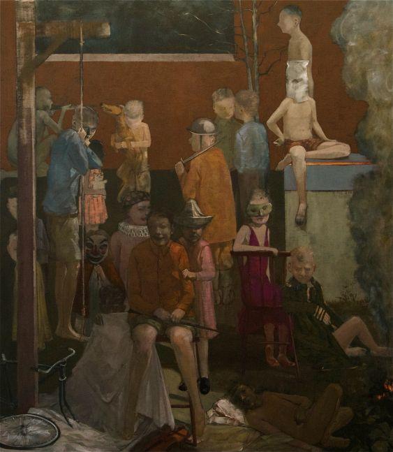 """The Children Watch Us Watch  47"""" x 42""""  Oil On Canvas"""