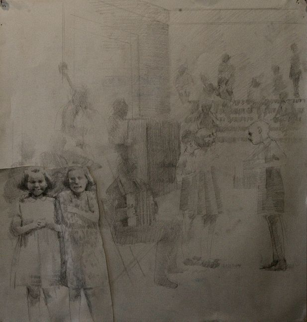 """Rehearsal V Study #1  20"""" x 20""""  Pencil On Paper"""