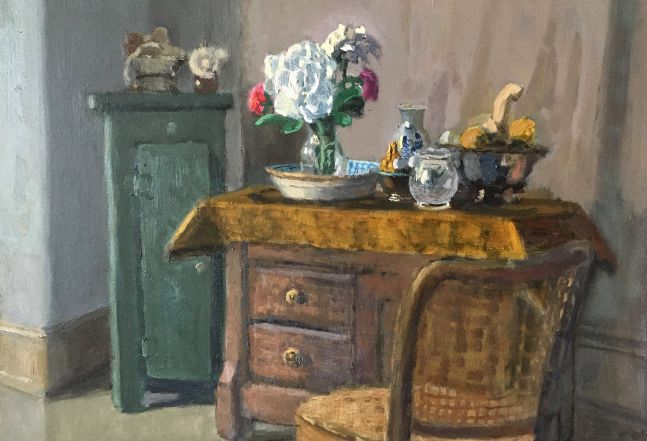 """Interior With Peonies   13.75"""" x 19.5""""  Oil On Panel"""