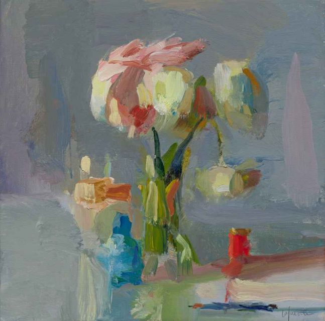 "Bottles, Peonies and Red Thread  10"" x 10""  Oil On Linen"
