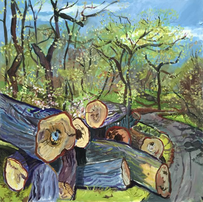 """Fresh Cut Logs From An October Storm  12"""" x 12""""  Acrylic On Panel"""