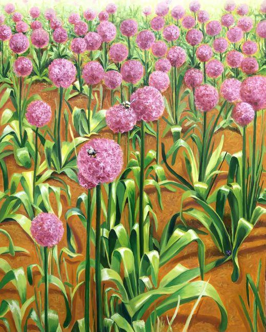 "Barbara Sosson, Allium At Comcast  60"" x 48""  Oil On Canvas"