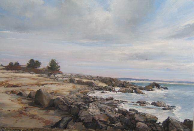 "Rocks On The Shore  16"" x 24"" Oil On Panel"