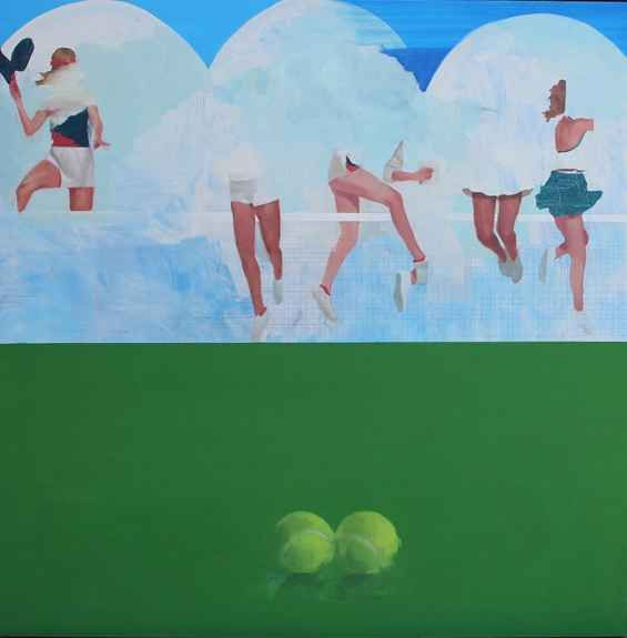 """Two Balls  38"""" x 36""""  Oil On Board"""