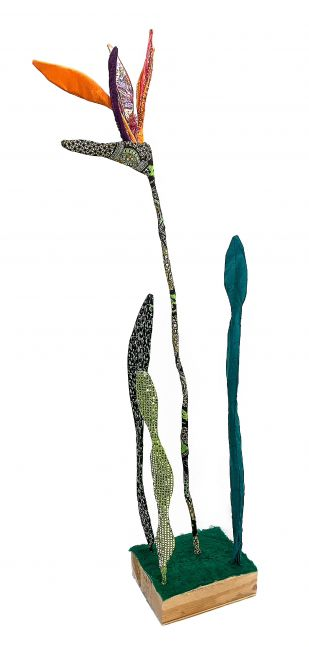 Bird Of Paradise Dutch Wax Flower  69″ x 10.5 x 13.5″  Fabric Sewn Over Wire, Piping And Wood