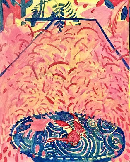"Dreaming Of A Garden In Morocco, Birdbath  30"" x 24""  Acrylic On Canvas"