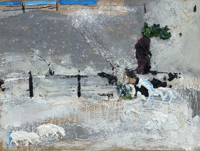 """Winter On The Farm  12"""" x 16""""  Oil On Panel"""