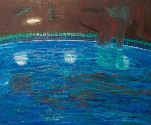 "Night Swim  25.5"" x 21""  Oil On Panel"
