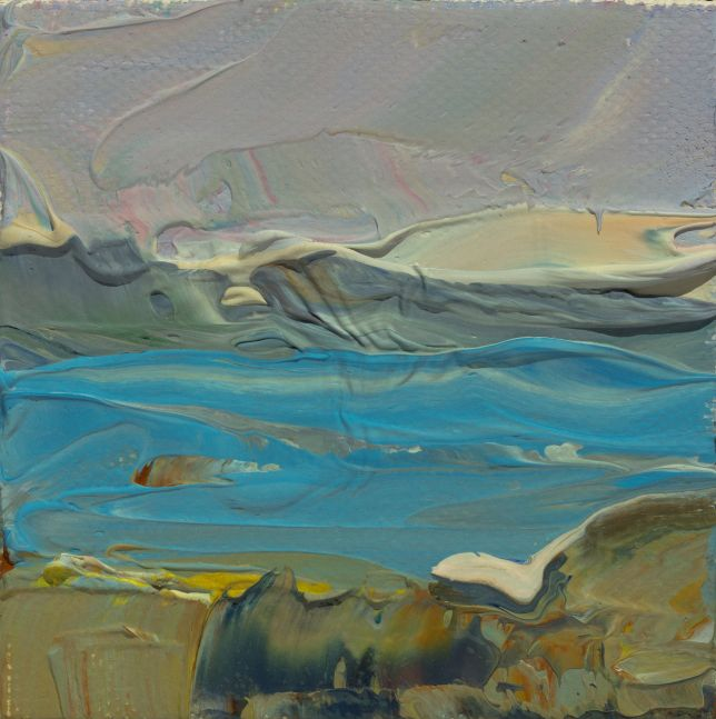 "Clear Afternoon Toward Bartlett Island  3"" x 3""  Oil On Canvas"
