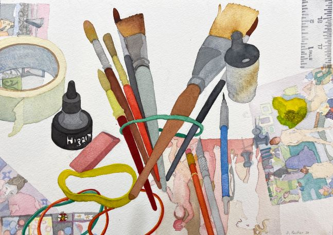 """Joan Becker, Tools, 12"""" x 16"""", Watercolor"""