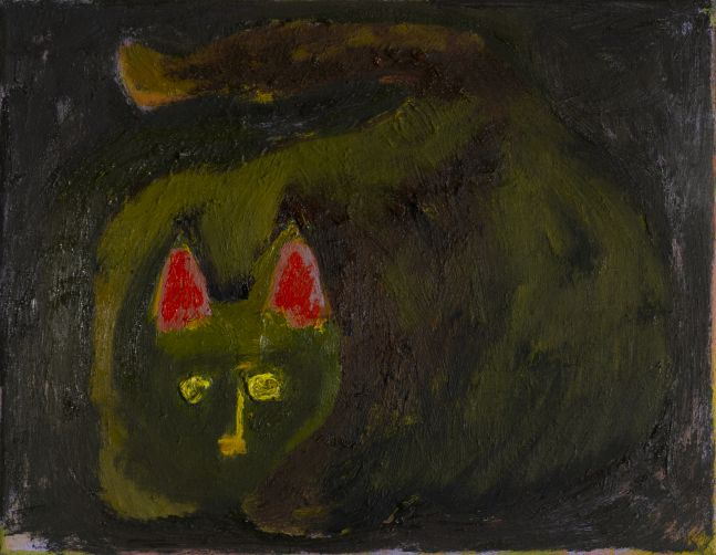 """Morgan Hobbs, Scaredy Cat - Red & Yellow Eyes 14"""" x 18""""  Oil On Canvas"""