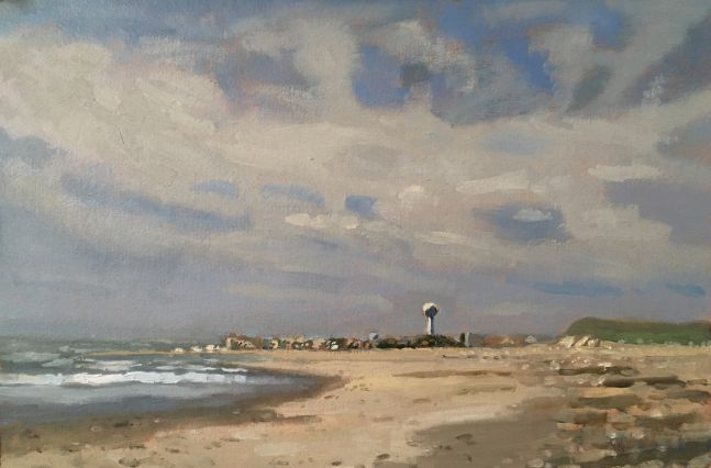 """The Water Tower  9"""" x 13""""  Oil On Panel"""