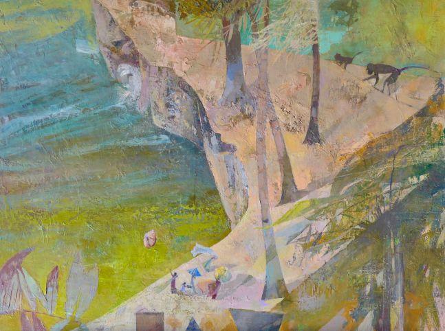 "Unawatuna  31.5"" x 41.5""  Oil On Paper And Canvas"
