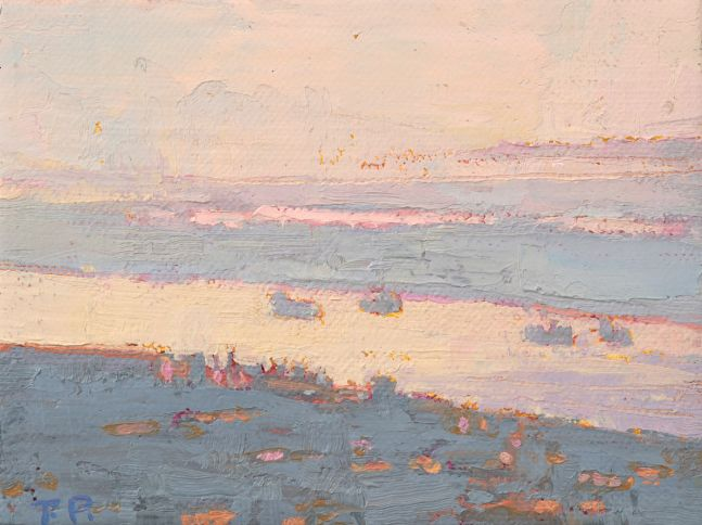 """Shipping Lanes, New Orleans 3.38"""" x 4.5""""  Oil/Linen Mounted On Birch Panel"""