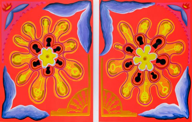 """Internal Mechanisms (diptych)  45"""" x 35"""" each  Oil And Acrylic On Canvas"""