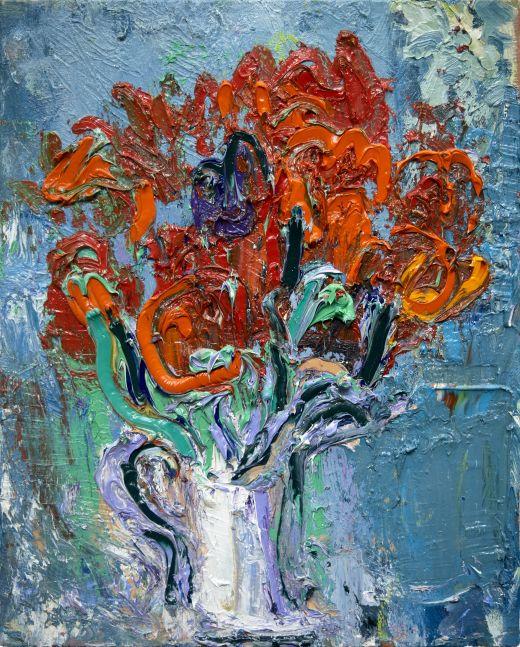 """Ying Li, Red Tulip #1  20"""" x 16""""  Oil On Linen"""