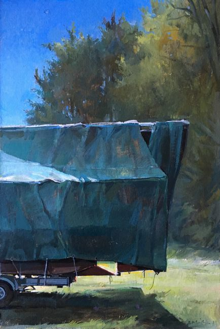 """Covered Boat  22"""" x 15""""  Oil On Board"""