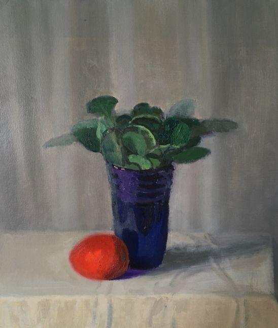 "Still Life With Cobalt Vase  13.75"" x 12""  Oil On Panel"