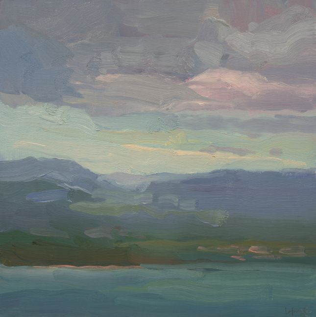 """Mountains And Bay Of San Juan  12"""" x 12""""  Oil On Linen Mounted On Panel"""