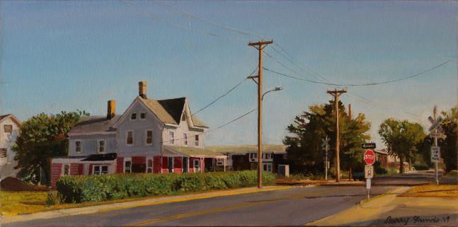 "Railroad Crossing  10"" x 20""  Oil On Canvas"