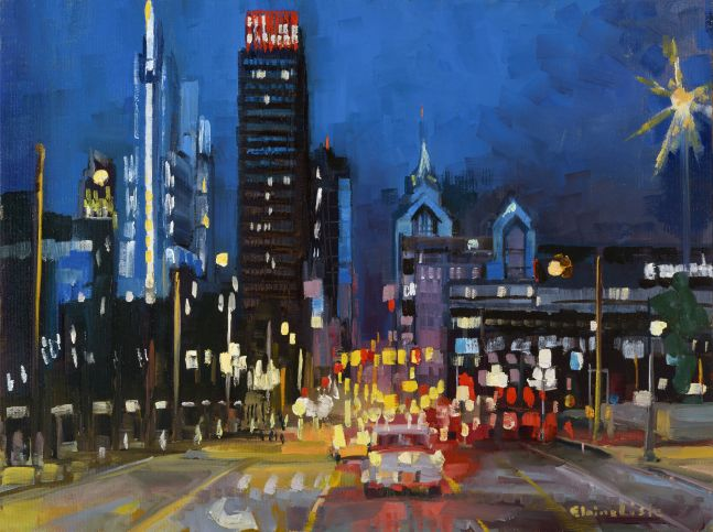 "City Hubbub  12"" x 16""  Oil On Board"