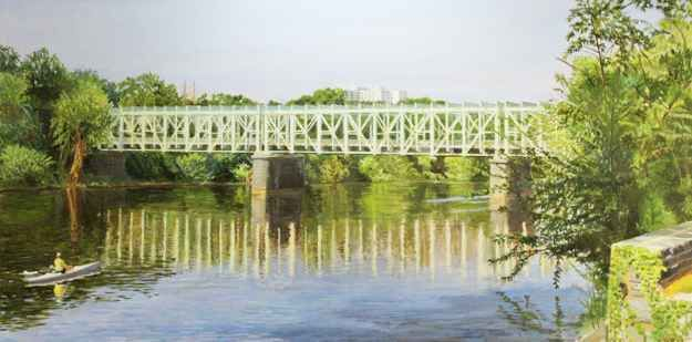 "Falls Bridge  24"" x 48""  Oil On Canvas"