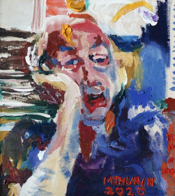 """Bill Via Zoom  11.5"""" x 10.5""""  Mixed Media On Canvas"""