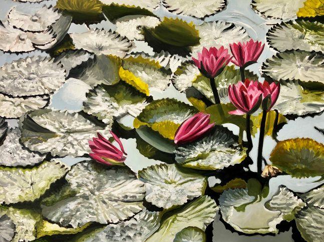 "Barbara Sosson, Bronx Pond 5  30"" x 40""  Oil On Canvas"