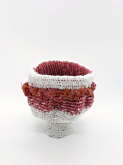 """White Bowl With Pink Decorations  4"""" x 5"""" x 5""""  Ribbon, Linen, And Polyester Cording"""
