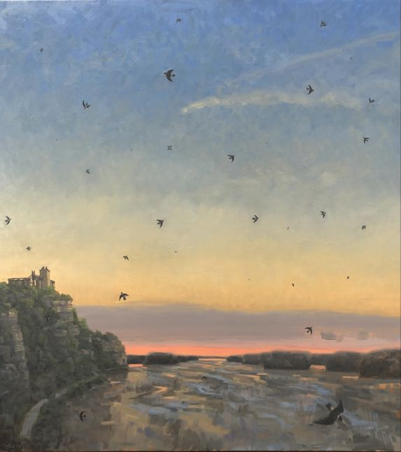 "Cliff Swallows Over The Missouri  22"" x 40""  Oil On Canvas"