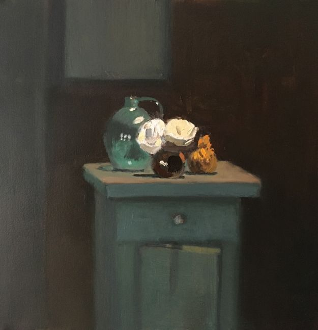 """Still Life On A Green Cabinet  12"""" x 12""""  Oil On Panel"""